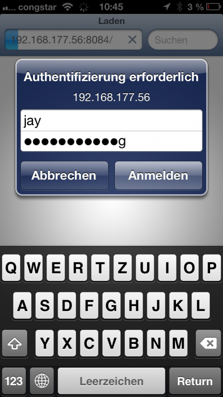 fhem login per smartphone-browser